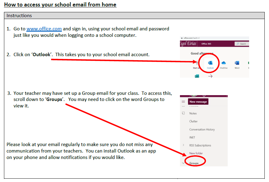 An image explaining how to access emails from home for distance learning.